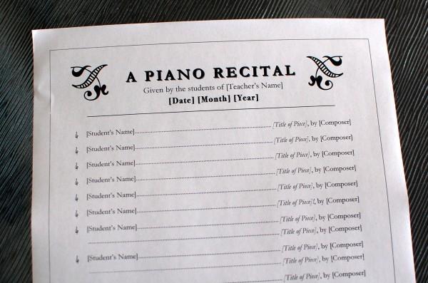 just added  piano recital program template  2