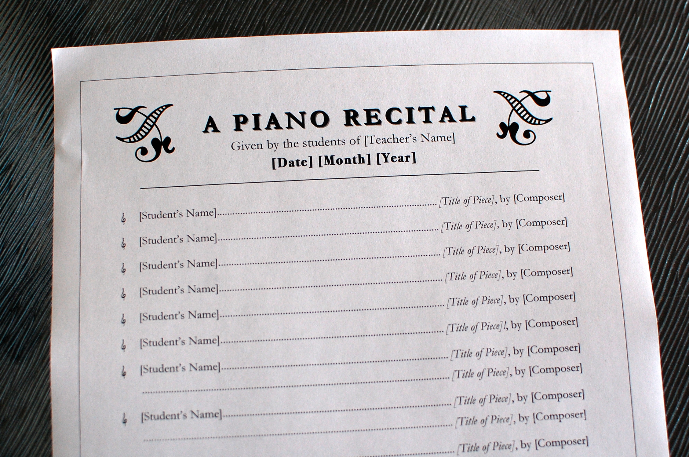 Recital template 101 best images about piano recital ideas on free recital templates look sharp composecreate com printables pronofoot35fo Image collections