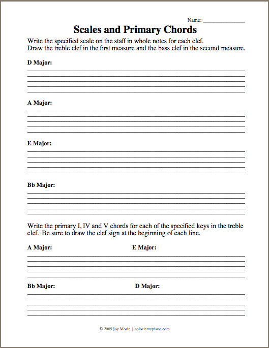 Piano piano chords worksheet : Just Added: Scales & Primary Chords 2 (DAEBb) Worksheet