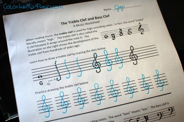 Just Added Treble Amp Bass Clef Worksheet Color In My Piano