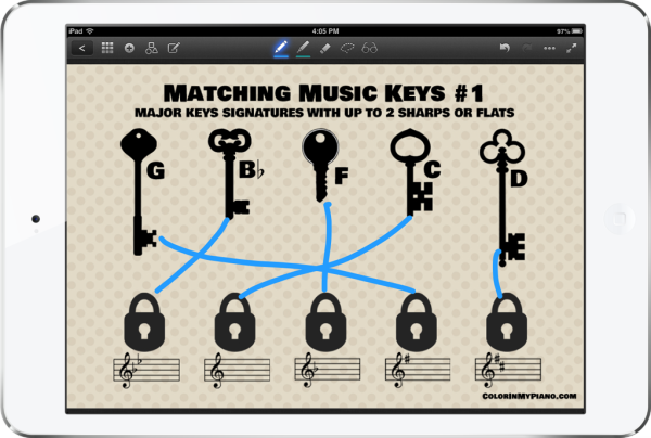 IPad mini matching music worksheets
