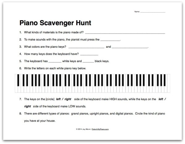 Piano Scavenger Hunt worksheet