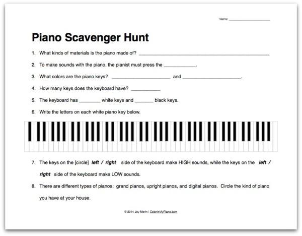 Piano Scavenger Hunt worksheet