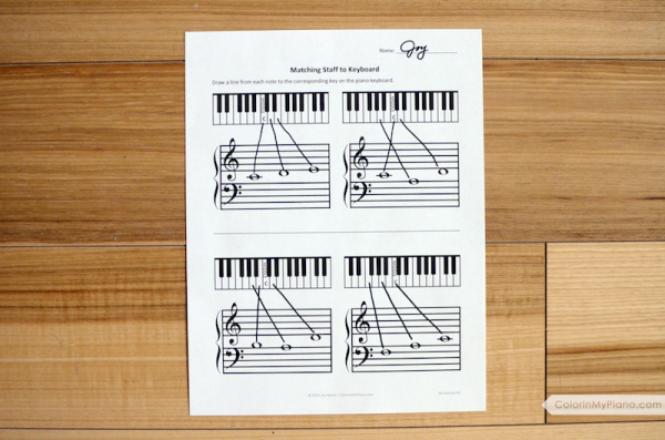 Worksheets: Matching Staff to Keyboard - Color In My Piano