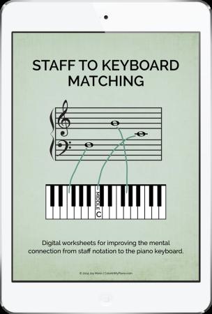 Staff to Keyboard Matching - digital worksheet