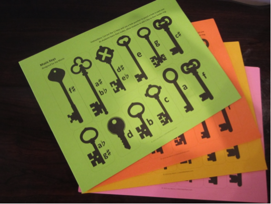keys on colored paper