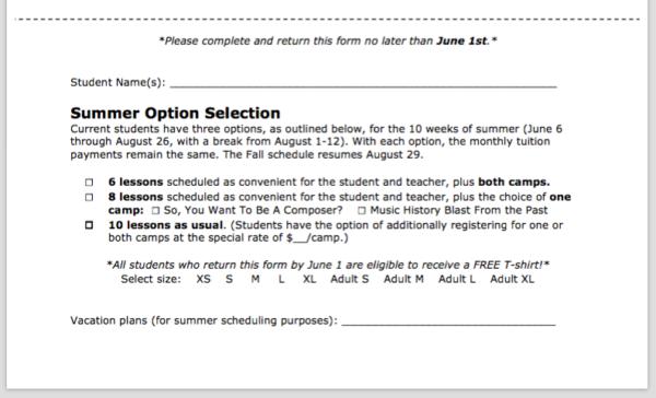 summer option selection